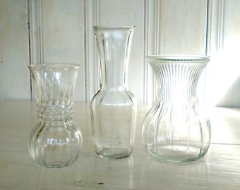 3 Vintage Clear Glass Bud Vases/Pressed Glass/Cut Glass/Mismatched Set/Retro/Wedding Table Decorations Centerpiece/lindafrenchgallery