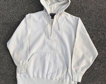 Vintage Ralph Lauren 1/4 Zip Hoodie M/L Off White / Ivory sweatshirt