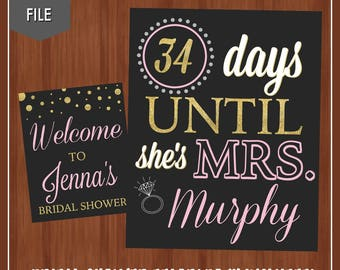 Bridal Shower Countdown and Welcome Signs - Champagne Brunch Bridal Shower - Pink and Gold Bridal Shower Signs - Welcome - Countdown - Pink