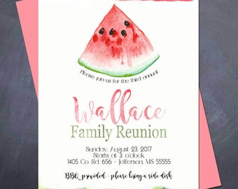 Printable Watermelon BBQ Invitation - Family Reunion - Family Get Together - Summer BBQ!
