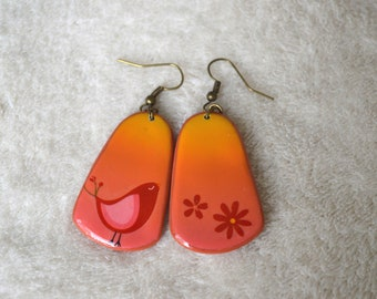 Earrings long fimo / polymer clay - ombre pink orange yellow - bird and flowers, floral