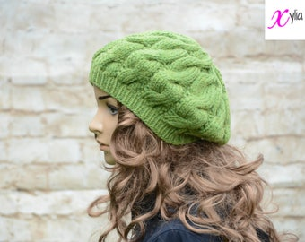 Green Cable Knitted Beret Womens Slouchy Hat Adult Size Hand Knitted Hat Chunky Knit Hat Alpaca Wool Acrylic