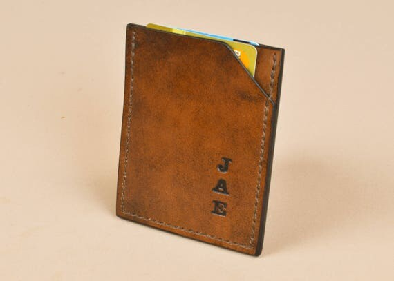 Card Sleeve - Minimalist Wallet - Slim Leather Card Wallet - Hand Stitched