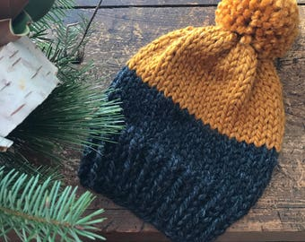 Custom ~ Slouchy Two-Coloured Tuque with Pom Pom