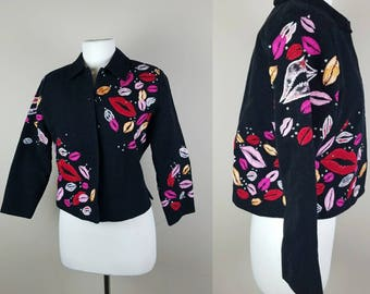 1980s vintage lips jacket - black vintage coat - lips prints jacket - vintage 80s blazer - Extra small vintage blazer
