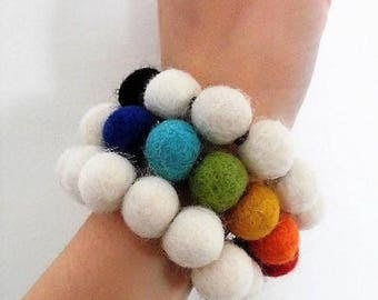 Black white rainbow felt beads bracelet and colors 7 Chakra Spiral Harmonic Wrap cord adaptable to wrist felt balls rainbow
