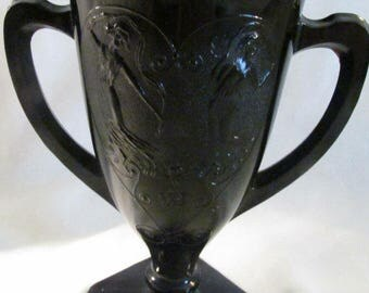 Black glass trophey urn shaped vase with dancing Nymphs L E Smith?, vintage