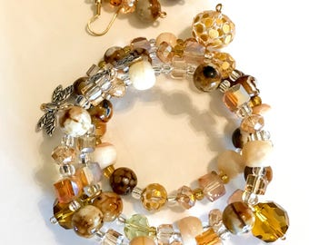 Memory Wire Bracelet in Gold, Brown and Creme Tones with Matching Earrings