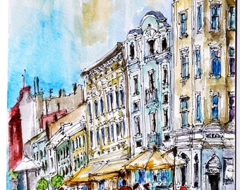 LVIV Watercolor. Lesya Ukrainka Street. UKRAINE  ART. Painting Lviv.
