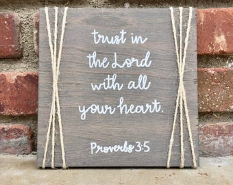 Bible Verse Rustic Wooden Sign  Proverbs 3 5  Trust In The Lord With All