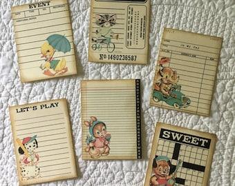 Journal Cards - Ephemera - Set of 6
