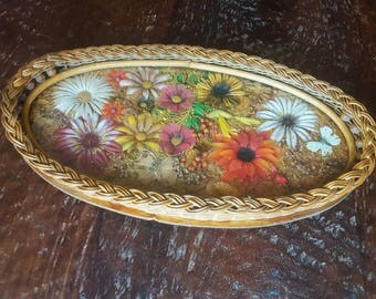 Vintage wicker tray//butterfly tray//pressed flower tray//boho decor/bohemian//Serving tray with handles//Oval vanity tray//Vintage wall art