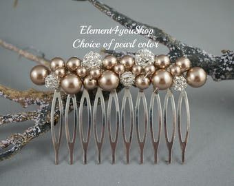 Bridesmaid comb, Bridal comb, Pearl comb, Rhinestone comb, Silver wedding hair comb, Wedding hair accessories, Bridesmaid gift, Night blue