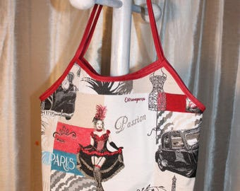 Cotton, spirit of PARIS, Red Mill, pull canvas tote bag.