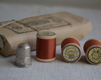 12 antique Victorian spools of sewing thread 1880s Burnt Orange colour