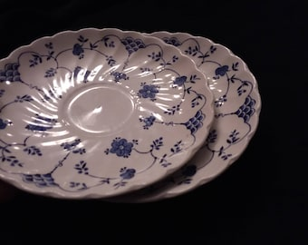 Myott Finlandia Saucers Two Porcelain Saucers Ribbed and Scalloped White with Blue FREE DOMESTIC SHIPPING