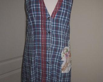 Vintage Cotton Linen Mix Blue Red Check Patchwork Tunics Top M