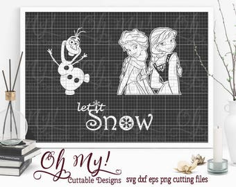 FROZEN Inspired Elsa Anna Olaf Svg Dxf Eps Png Cutting Files