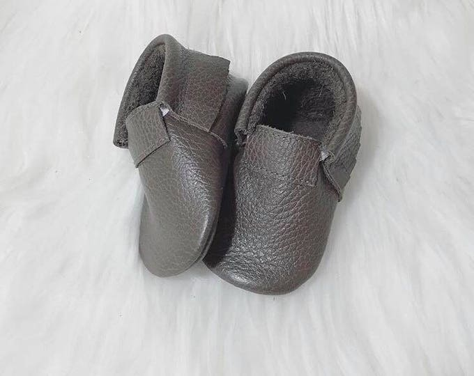 Taupe Fringeless Front Baby Moccasins