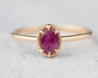 14k rose gold Ruby engagement ring, alternative unique engagement ring, delicate simple oval ring,  ado-r105-rub