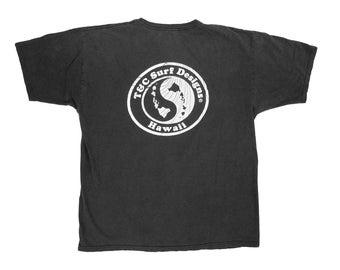 T&C Surf Designs Hawaii Black T-Shirt Large Yin Yang Surfwear Surfing
