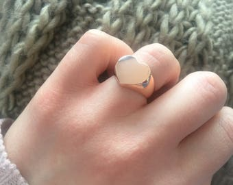 Heart seal ring in rose-colored stainless steel
