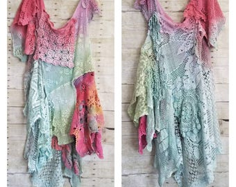 Pink Sunshine Shabby gypsy REVERSIBLE Woodland front back   floral ruffle maxi Boho dress top crochet doily duster shawl tunic M L XL 2XL