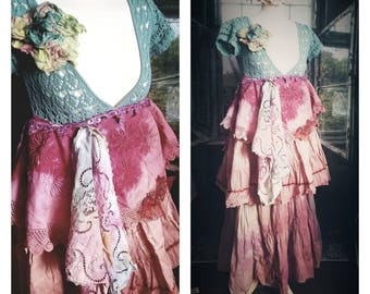Pink Sunshine Shabby cowgirl rustic funk embellished spring art layered lace prairie gypsy floral ruffle rustic Boho maxi dress S M