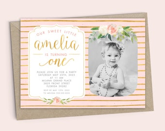 First birthday invitation template, girl, gold, watercolor flowers, invitation design, first birthday cards, card design 2817
