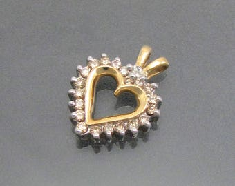 Beautiful Solid 10k Yellow Gold and 0.20ctw Champagne Diamond Open Heart Pendant