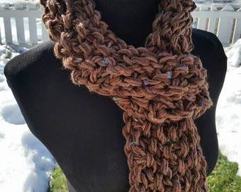 Scarf FREE SHIPPING Scarf, Infinity Scarf, Multi Color Scarf, Snood, Pullover, Chunky Infinity, Infinity, Brown Scarf, Brown, Chocolate