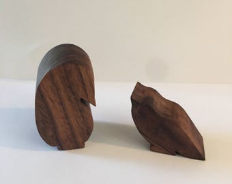 Wooden Penguin and chick set - walnut