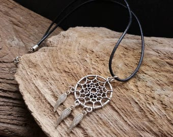 Dreamcatcher Pendant Necklace, Angel Wing Charm Bohemian Necklace, Black Faux Leather Thong Necklace, Hippy Boho