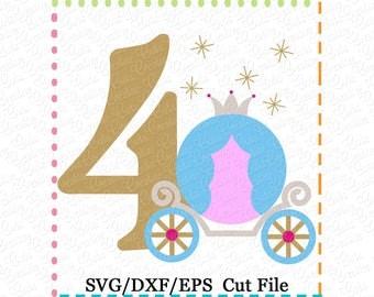 4 4th Birthday Princess Carriage svg, carriage svg, princes svg, princess carriage cut file, cinderella svg, first birthday svg