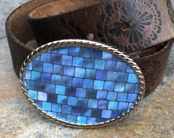 mens belt buckle boho belt buckle bohemian belt buckle women's belt buckle Lavish Lucy Designs turquoise blue mosaic design belt buckle