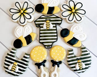 Bumblebee Cookies | Bumble Bee Cookies | What Will It Bee? | Parents To Bee | Bee Cookies | Gender Reveal Cookies | One Dozen