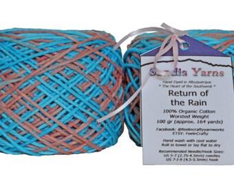 Hand Dyed Yarn | Blue & Brown yarn  | Organic Cotton Yarn | Worsted Weight and Machine Washable | 100 grams per hank yarn |