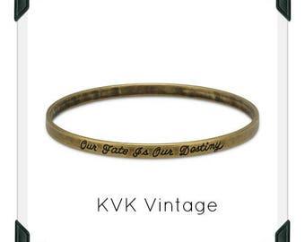 Oxidized Brass Message Bangle