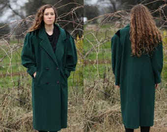 Coat, Wool Coat - Vintage Coats, Stylish Coat - Women's L to  X-Large - Fashions by Jill - Dark Green - Stunning on! Dolman Sleeves!