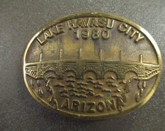 Belt Buckle - Lake Havasu City - Lake Havasu Belt Buckle - 1980 - Arizona - London Bridge  - With Original Certificate  - FREE SHIPPING
