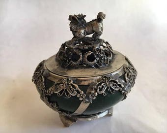 """Chinese Pot, Teal, Small, Fu Dog, Butterflies, Flowers, Dragons, Marked, From A Chinese Estate China,  Lid, 4"""" High, FREE SHIP"""