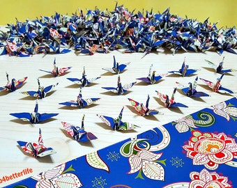 "Lot of 1,000pcs Batik Design 1.5"" Origami Cranes Hand-folded From 1.5""x1.5"" Square Paper. (WR paper series). #FC15-47."