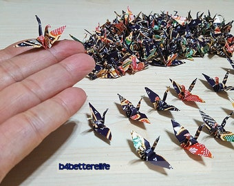 "Lot of 100pcs Batik Design 1.5"" Hand-folded Origami Paper Cranes. #FC15-66. (WR Paper Series)."
