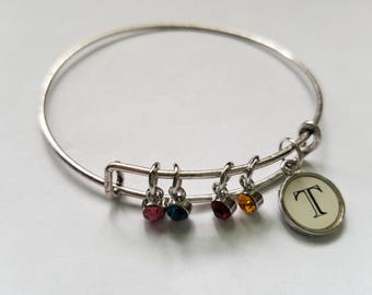 Silver Letter/Initials Bangle Bracelet with Birthstones