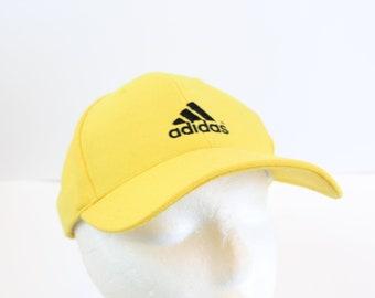 Yellow Adidas Hat cap snapback 90s hi viz