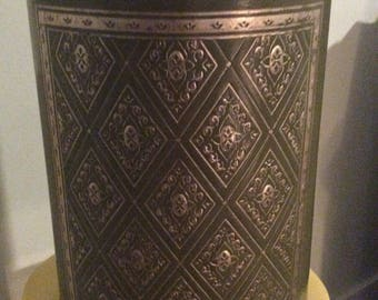 Vintage Green Trash Can with Gold Accents