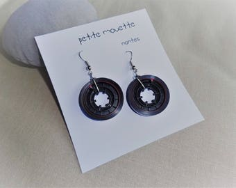 Earrings made of recycled audio tapes: very dark brown band / black / red edging
