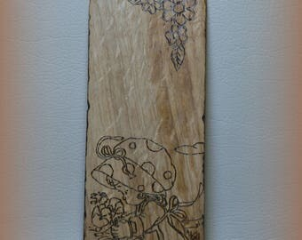 SOLD ***!!! Ooak wooden bookmark and pyrogravated flowers Single piece