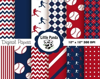80% OFF SALE Baseball Digital Paper Pack, Digital Scrapbooking Papers, 12 jpg files 12 x 12 - Instant Download - D142