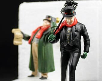 """Department 56 Heritage Village Collection """"Town Crier and Chimney Sweep"""" 2 Pieces Handpainted Porcelain"""